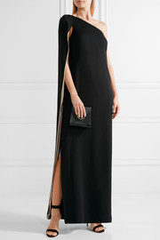 Halston Heritage Cape-effect one-shoulder crepe gown