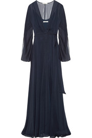 Halston Heritage Crinkled-chiffon wrap gown