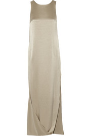 Cape-effect satin and crepe gown