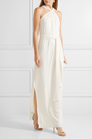 Halston Heritage Twist-front stretch-cady gown