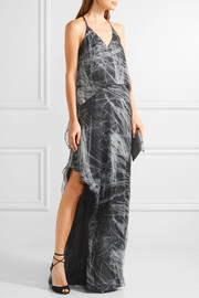 Halston Heritage Layered metallic printed silk-blend chiffon gown