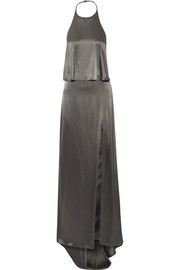 Double-faced satin halterneck gown