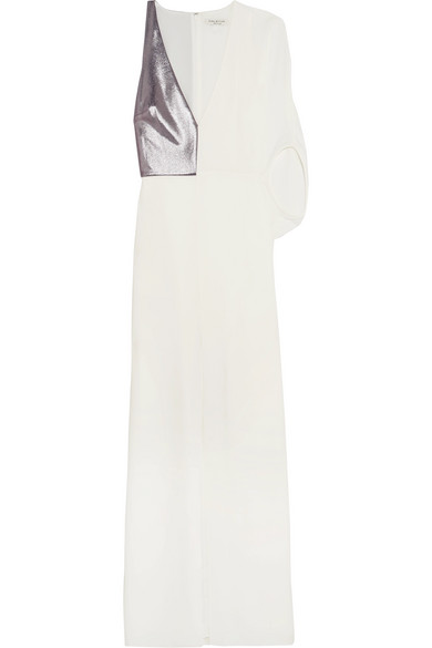 Halston Heritage Lame Paneled Stretch Crepe Gown Net A Porter Com