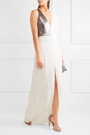 Halston Heritage Lamé-paneled stretch-crepe gown