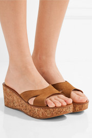 K Jacques St Tropez Kobe suede and cork wedge sandals