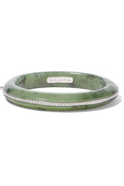 Fred Leighton Collection 18-karat white gold, nephrite and diamond bangle