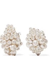 Fred Leighton 1960s 18-karat white gold, pearl and diamond clip earrings