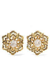 Fred Leighton 1890s 18-karat gold, diamond and enamel earrings