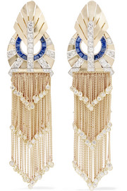 Fred Leighton Collection 1940s 18-karat gold, sapphire and diamond clip earrings
