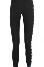 Power Play striped stretch-jersey leggings