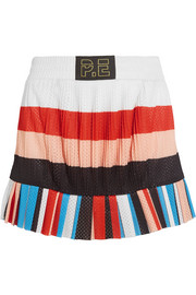 The Heat pleated striped mesh mini skirt