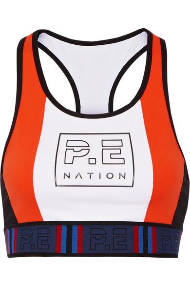 P.E Nation. Hybrid Check color-block sports bra
