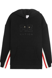 P.E Nation Prime Time striped scuba-jersey hooded sweatshirt