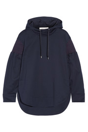 Cédric Charlier Smocked cotton-jersey hooded top