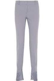 Shirred houndstooth cotton-piqué skinny pants