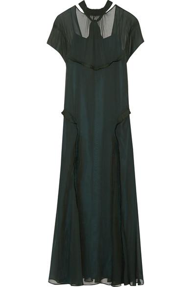 Cédric Charlier - Open-back Ruffle-trimmed Chiffon Maxi Dress - Emerald