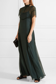 Open-back ruffle-trimmed chiffon maxi dress