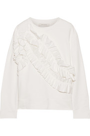 Ruffle-trimmed cotton-jersey sweatshirt