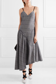 Asymmetric faux leather-trimmed plaid cotton dress
