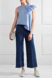 Two-tone high-rise wide-leg jeans