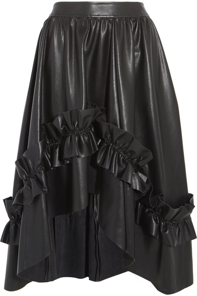 Cédric Charlier | Asymmetric ruffle-trimmed faux leather skirt ...