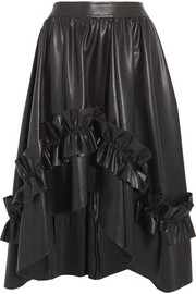 Asymmetric ruffle-trimmed faux leather skirt