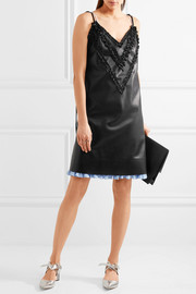 Ruffle-trimmed faux leather dress