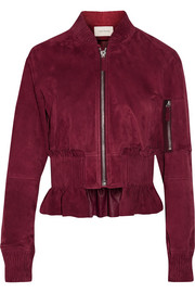 Cédric Charlier Cropped ruffled suede bomber jacket