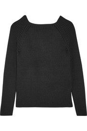 Rope open-back ribbed wool sweater