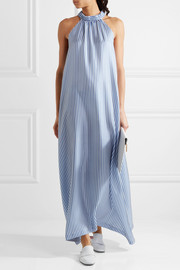 Bermuda striped silk crepe de chine maxi dress