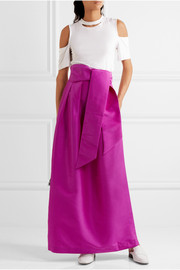 Miller pleated faille maxi skirt