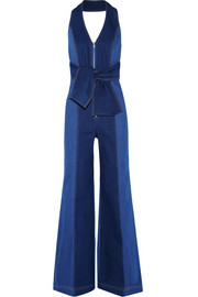 Paper London Soleil two-tone denim halterneck jumpsuit