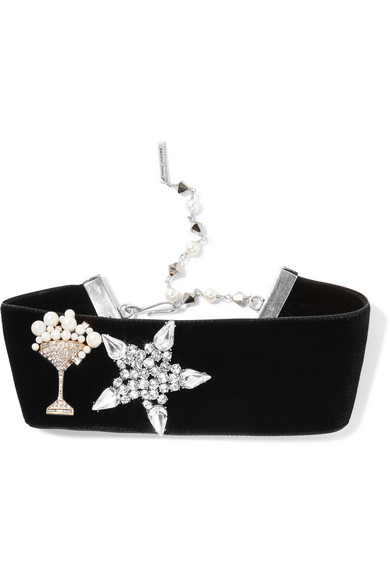 marc jacobs female marc jacobs velvet swarovski crystal and faux pearl choker black