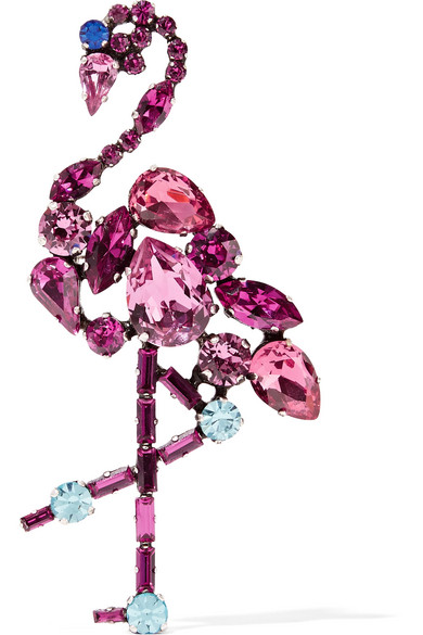 marc jacobs female marc jacobs flamingo silvertone crystal brooch pink