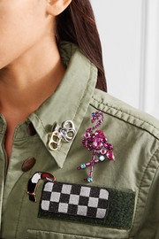 Marc Jacobs Flamingo silver-tone crystal brooch