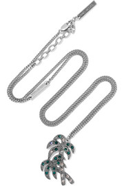Palm Tree silver-plated crystal necklace