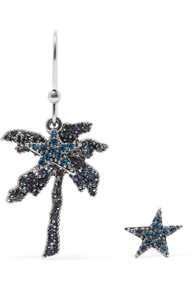 Marc Jacobs - Palm Tree Silver-tone Crystal Earrings - Blue
