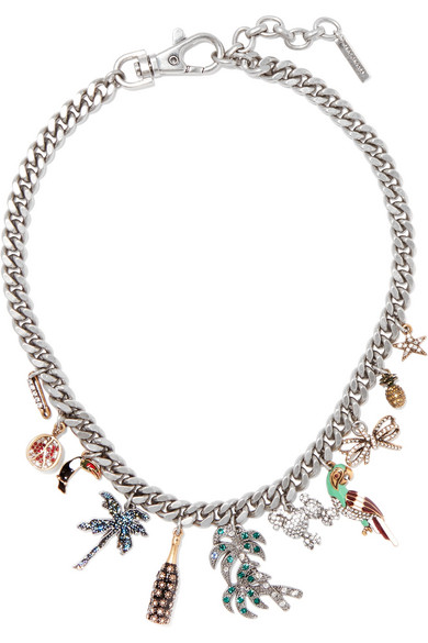 Tropical silver-tone, Swarovski crystal and enamel necklace