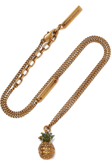 marc jacobs female marc jacobs pineapple goldplated crystal necklace one size