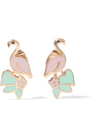 Flamingo gold-tone enamel earrings