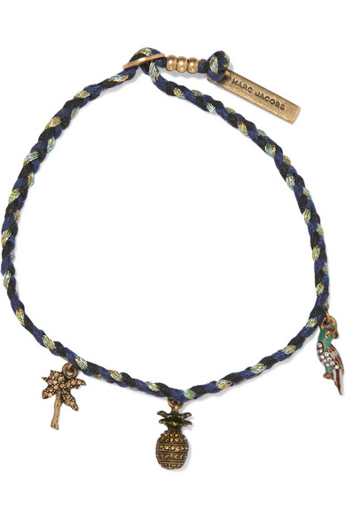 marc jacobs female marc jacobs woven goldplated and crystal bracelet midnight blue