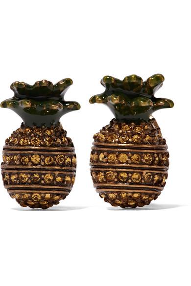 marc jacobs female marc jacobs pineapple burnished goldtone swarovski crystal and enamel earrings one size