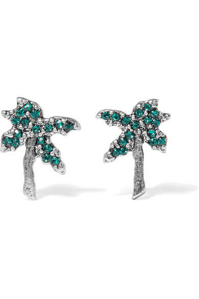 Marc Jacobs - Palm Tree Silver-tone Swarovski Crystal Earrings - Green