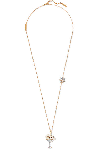 marc jacobs female marc jacobs martini goldtone crystal and faux pearl necklace one size