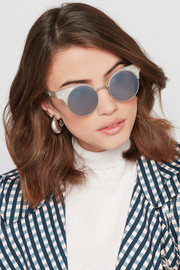 Bottega Veneta Round-frame titanium and silver sunglasses