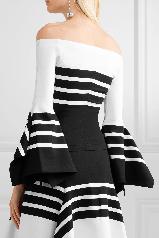 Rosetta Getty Off-the-shoulder striped stretch-jersey top