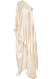 One-shoulder washed-satin gown
