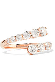 Twist 18-karat rose gold diamond ring