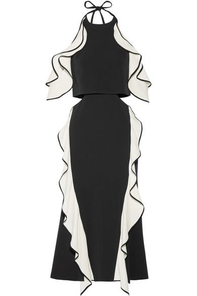 Jonathan Simkhai - Cutout Ruffled Crepe Halterneck Midi Dress - Black