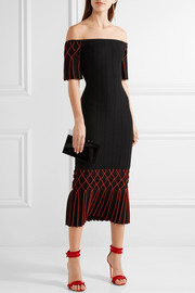 Off-the-shoulder pleated stretch-knit midi dress